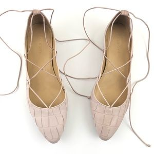 Talbots Light Pink Leather Laceup Flats Size 10